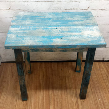 Rustic Farmhouse Barnwood side table blue teal distressed cottage home decor reclaimed recycled furniture aged antique table shabby chic