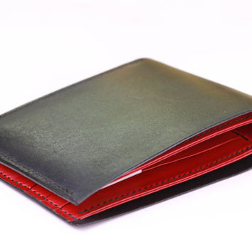 Handmade Hand Stitched Men's Leather Wallet Duo Colors - Full grain Veg-Tan - Bifold