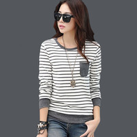 tee shirt femme winter long sleeve tshirt women t shirt womens tops fashion 2016 poleras de mujer stripe t-shirt camisetas mujer