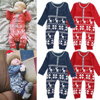 Xmas Newborn Infant Boys Girls Baby Knit long sleeve Romper Playsuit Clothes Outfits Set