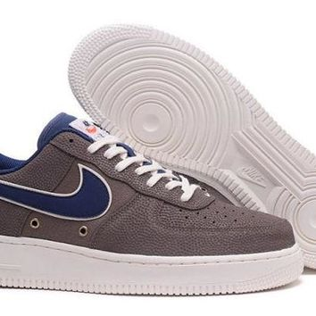 DCCKY4E New Arrivel Nike Air Force 1 07 LV8 Crocodile Leather, Brown, Blue, White  Men's Casual Shoes Sneakers