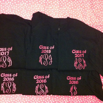 "Graduation Year Monogrammed Shirts - Personalized with ""Class of 20__"""