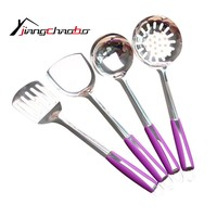 Kitchen Cooking Utensil Set Heat Resistant Cooking Tools including Spoon Turner Spatula Soup Ladle Color Purple