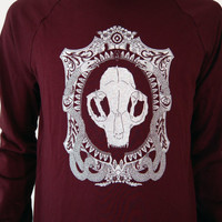 Nouveau Cat Skull Cameo Burgundy Crew Neck Sweater