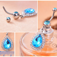 Belly Button Ring - Rhinestone Crystal Waterdrop