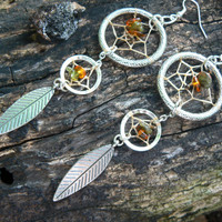 double dreamcatcher earrings tourmaline and Amber new age zen boho hipster hippie tribal native american inspired  gypsy style