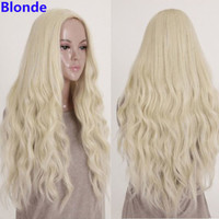 Parted Bang Style Harajuku Black/Blonde Wig Long Wavy Curly Hair Cosplay Costume