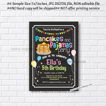 Pancakes and Pajamas Party Invitation, Pancakes Birthday Invitations, Pajama Party, Sleepover Pancakes any age, 5th 6th 7th 8th - card 948