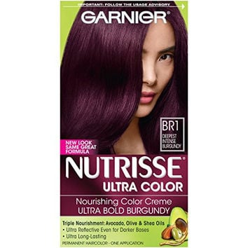 Garnier Nutrisse Ultra Color Nourishing Color Creme, BR1 Deepest Intense Burgundy (Packaging May Vary)