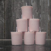 baby pink apple blossom soy votives, baby pink soy candles, scented candle