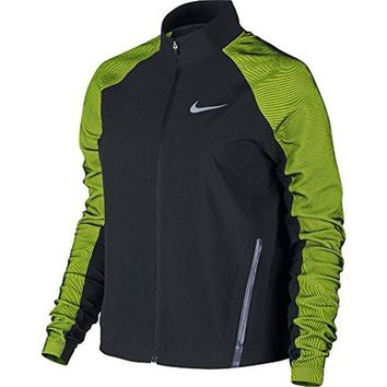 CREY3DS Nike Women's Twill Running Jacket Black Green 822552 010