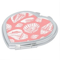 Coral White Seashells Pattern Heart Compact Mirror