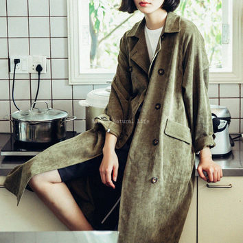 Women Trench Coat Autumn and Winter Coat Long Sleeve Thick Women Corduroy Trench Coat for Women Green Color Long Coat
