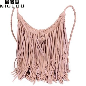 NIGEDU Beach Bohemian Tassel Women's Crossbody Bags Vintage manual Weave handbag bolsa franja Quality PU leather messenger bags