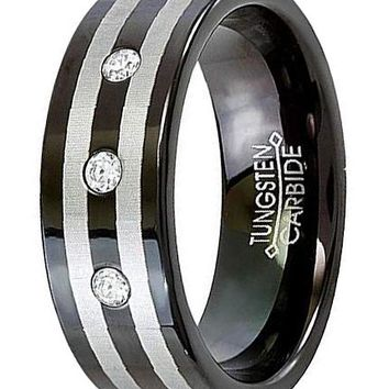 CERTIFIED 8MM Tungsten Carbide Unisex Black Double Stripe 3 Stone CZ 0.10CT Ring