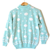 Vintage 80s Acrylic Sparkle Pastel Polka Dot Tacky Ugly Sweater - The Ugly Sweater Shop