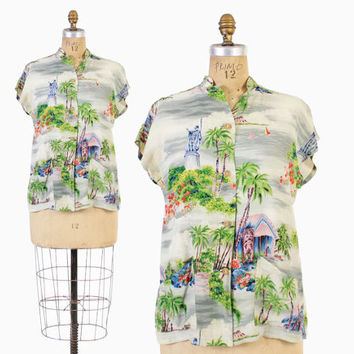 Vintage 40s Hawaiian TOP / 1940s Novelty Print Rayon Tea Timer Blouse S - M