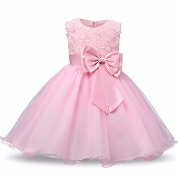 Princess Flower Girl Baby Pink Pageant Dress Sleeveless Floral and Tulle A-Line Frilly Dress 2T to 12Yr
