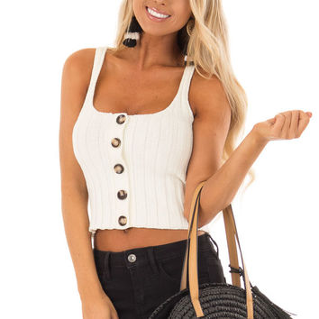 Ivory Ribbed Knit Button Up Cropped Tank Top