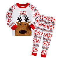 2016 Winter cotton children pajamas kids cartoon boys girls 2-7 years pijama sleepwear home family Christmas pajamas set pajama