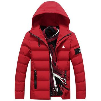 Champion winter men's new trend trend hooded jacket thick down cotton clothing red