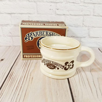 Vintage Barbershop Old Fashioned Luxury Shaving Mug Original Box