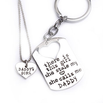 """2016 Fashion Jewelry Set Father's Day gift Dad and daughter necklace """"there is this girl she stole my heart she calls me daddy"""""""