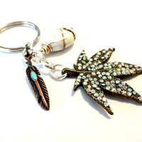 Cool Keychain, Rhinestone Leaf Pendant Key Chain, White Turquoise Gemstone Keychain, Copper Feather Key Ring, Hippie Gifts