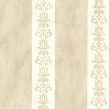 Brewster Wallpaper 672-20079 Parisi Beige Embellished Damask Stripe