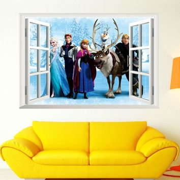 Cartoon snow queen princess Frozen window view 3d wall stickers wall decal for kids rooms living room home decor vinyl mura &