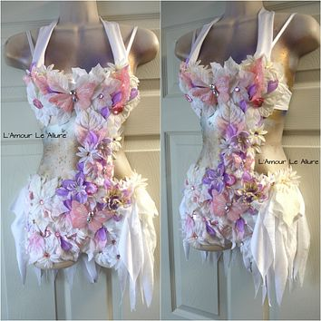 Custom Order - Pink Lavender Frosted Winter Fairy Monokini Costume