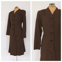 Vintage 1940s Jaclane of California Suit Travel Suit Blazer Jacket Pencil Skirt Two Piece Set Wool 40s Vogue Fall Outfit Classic Womens Suit