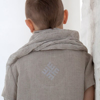 Monogram Linen T Shirt Summer top Linen tops Toddler clothes Unisex with thunder cross