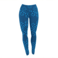 "Gukuuki ""Blue Taylor"" Navy Damask Yoga Leggings"
