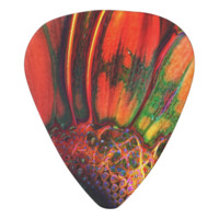 Abstracted Orange Daisy Guitar Pick