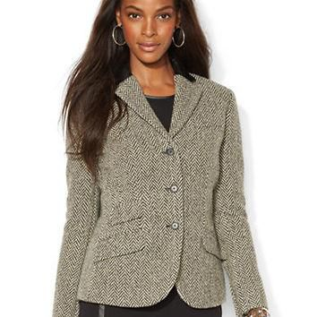 Lauren Ralph Lauren Petite Leather Trim Wool Blend Jacket