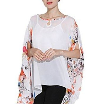 ZATOGOO Womens Bohemian Floral Print Chiffon Poncho Batwing Sleeve Loose Blouse Cover up Top