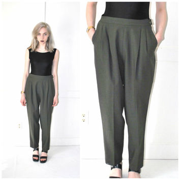OLIVE green pleated TROUSERS vintage 80s 90s MINIMAL high waisted menswear pants size 28 medium