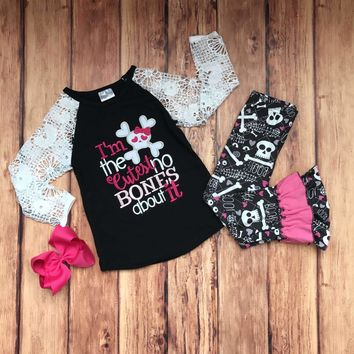 RTS-I'm The Cutest No Bones About It Girls Skull Outfit