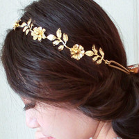 Gold Tone Floral Elastic Head Band Hair Jewelry