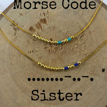 SISTER Morse Code Necklaces, Secret Message, Dainty necklace, Minimalist, Morse code jewelry, gold necklace,sister gift,sisters
