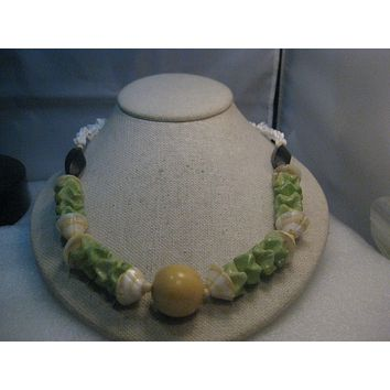 "Vintage Shell & Peking Glass Necklace, Chunky, 23.5"" - pre mid-century"