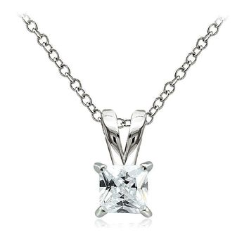 925 Sterling Silver 3/4ct Cubic Zirconia 5mm Square Solitaire Necklace