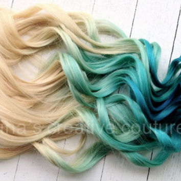 "Mermaid Blonde Ombre, Blonde Hair extensions dipped in Pastel Blue faded into Ocean Blue, 7 Pieces,18"", Ready To Ship"