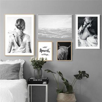 Nordic black and white photography character English girl tattoo Art Poster Canvas Painting Wall Picture for Home Decoration