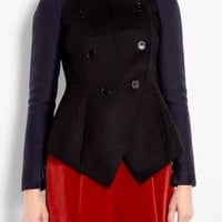 Sculpted Wool Double Breasted Jacket by Carven