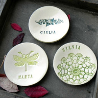 Personalized Bridesmaid Ceramic Ring Dishes Green Lace Pottery Bridal Plate Wedding Gift Jewelry Dish