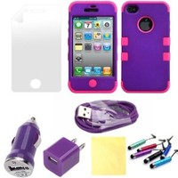 (TRAIT)5IN1 Purple&Rose for iphone4 4g 4s Front and back covers Protective Cases for iphone 4 4g 4s Cases +2* Screen protector+2* cleaning Cloth