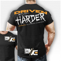 DRIVEN 2 Push HARDER: 219 T-Shirt: Black : Monsta Clothing Co, Bodybuilding Clothing, Powerlifting Apparel, Weightlifting Shirts, Workout Clothes and MORE