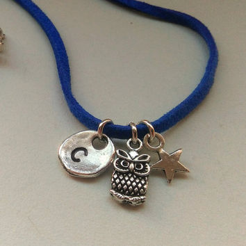Owl Pendant, Lucky Charm Necklace, Personalized Hand Stamped Initial Necklace, Owl Pendant, Gift for Girls, Girls Name Necklace, Owl Jewelry